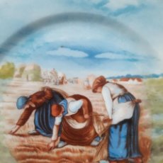 Antigüedades: LOTE DE 2 PLATOS DE CERÁMICA DE LIMOGES PINTADOS A MANO. REPRODUCCIÓN DE 2 OBRAS DE MILLET. FIRMADOS. Lote 221803960