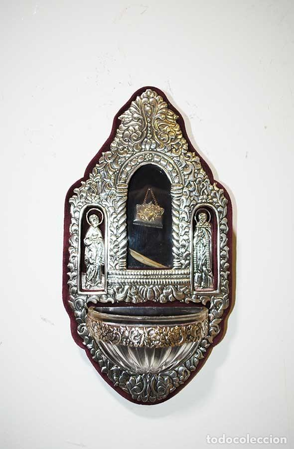 BENDITERA DE PLATA DE LEY (Antigüedades - Religiosas - Benditeras)