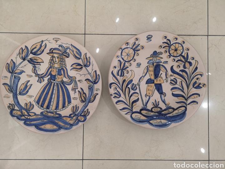 TALAVERA LA MENORA. PAREJA DE BANDEJAS. (Antigüedades - Porcelanas y Cerámicas - Talavera)