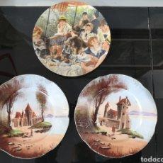 Antigüedades: TRES PLATOS DECORADOS. CFK CDM FRANCE. TIRSCHENREUTH GERMANY.. Lote 221821535