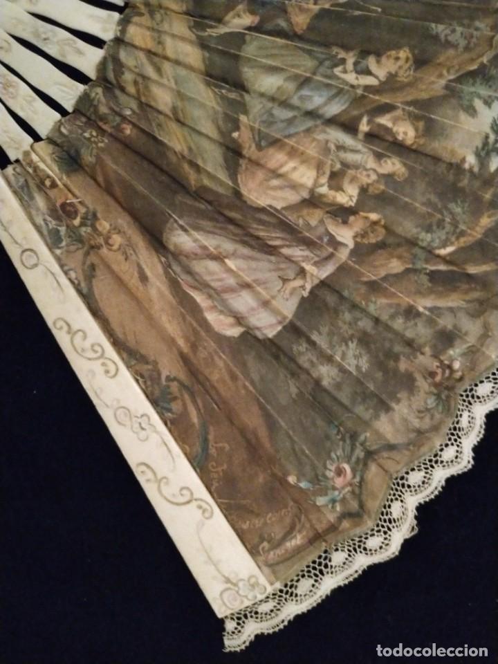 Antigüedades: Abanico marfil y país de seda siglo XIX encaje de bolillos - Foto 2 - 221829946