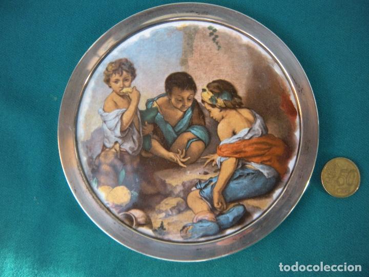 Antigüedades: MARCOS DE PLATA CON PLAFÓN ESMALTADO. - Foto 3 - 221851460