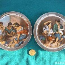 Antigüedades: MARCOS DE PLATA CON PLAFÓN ESMALTADO.. Lote 221851460