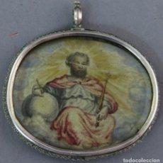 Antiguidades: RELICARIO DE PLATA CON DIOS PADRE SOBRE PAPEL Y VIRGEN DEL SAGRARIO DE TOLEDO SOBRE COBRE SIGLO XVII. Lote 221887333