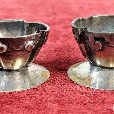 Antigüedades: PAREJA DE SALEROS ART DECO. CON PUNZONES MEXICANOS. MEXICO CIRCA 1930. Lote 221889747