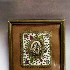 Antigüedades: DETENTE, ESCAPULARIO, VIRGEN DEL CARMEN, EN SEDA, HILOS DE ORO.. Lote 221889768
