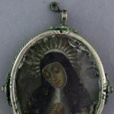 Antigüedades: RELICARIO DE PLATA CON VIRGEN DE LA PALOMA SOLEDAD Y VIRGEN DE BELÉN SOBRE COBRE SIGLO XVII. Lote 221889818