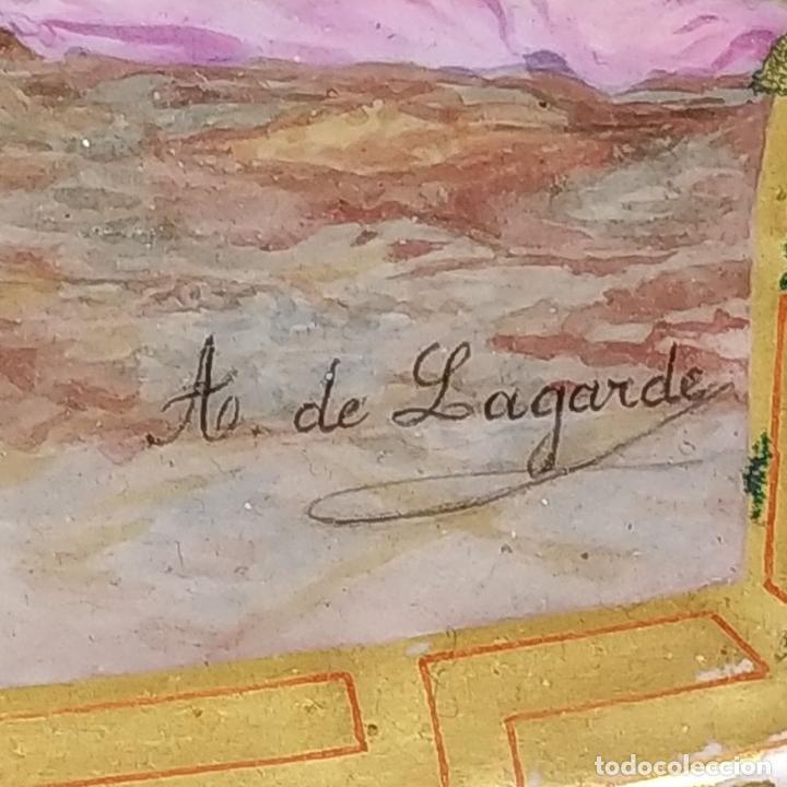 Antigüedades: PLATO. PORCELANA BELLAMENTE ESMALTADO. FIRMADO A DE LAGARDE. FRANCIA. SIGLO XIX - Foto 9 - 221892358