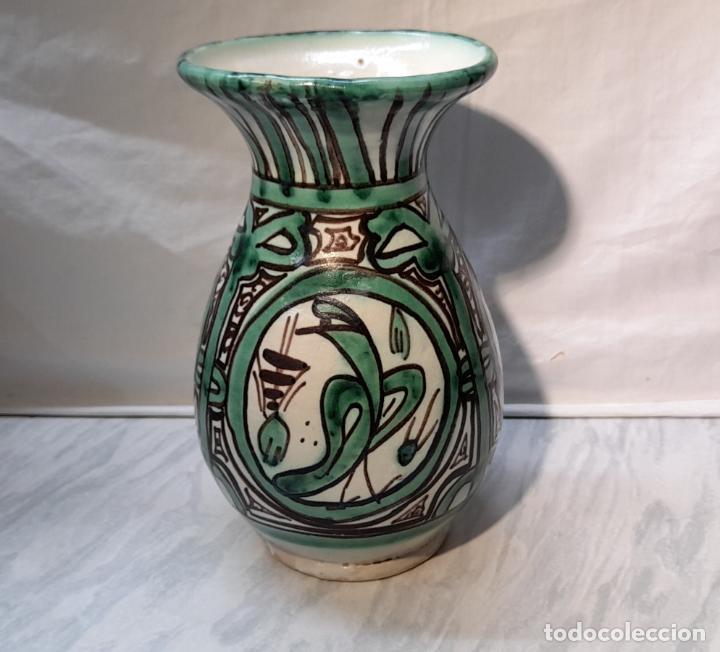 Antigüedades: Bonito jarrón florero cerámica de Teruel - Punter . 20cm - Foto 3 - 221898432