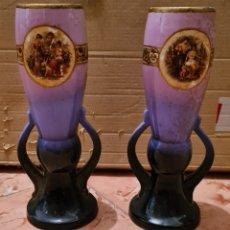 Antigüedades: 2 ANTIGUOS JARRONES COPAS DE PORCELANA DEL SIGLO XIX. Lote 221907033