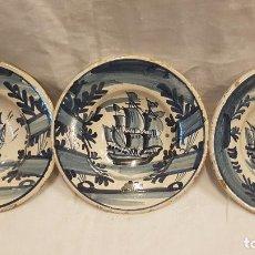 Oggetti Antichi: 3 PLATOS AZULES CERAMICA CATALANA. Lote 221911116
