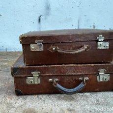 Antigüedades: LOTE MALETAS ANTIGUAS EN CUERO. Lote 221911702