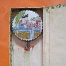 Antigüedades: ANTIGUO ESPEJO DE MANO DE PORCELANA CHINA ANTIGUA. Lote 221926003