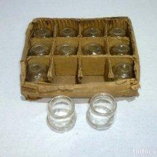 Antigüedades: 12 ANTIGUOS TARROS DE CRISTAL SIN USAR.5.5 X 6 CM.. Lote 221926083