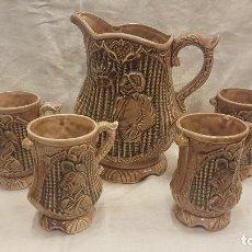 Antigüedades: JARRA CON 4 VASOS CON ASA DON QUIJOTE. Lote 221941353
