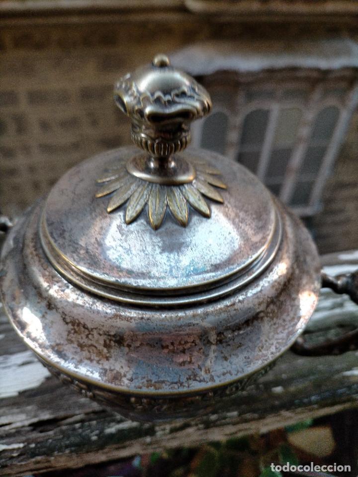Antigüedades: caliz hostiario recipiente para guardar hostias metal plateado g - m.e con sello bombonera azucarero - Foto 2 - 221954873
