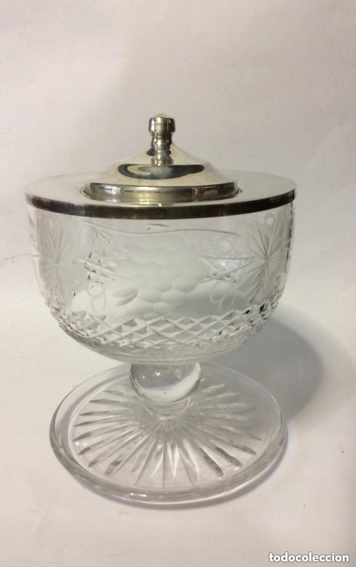 Antigüedades: Cáliz cristal tallado y plata de Ley 925ml, para liturgia religiosa Curiosa copa de cristal tal - Foto 2 - 221967183