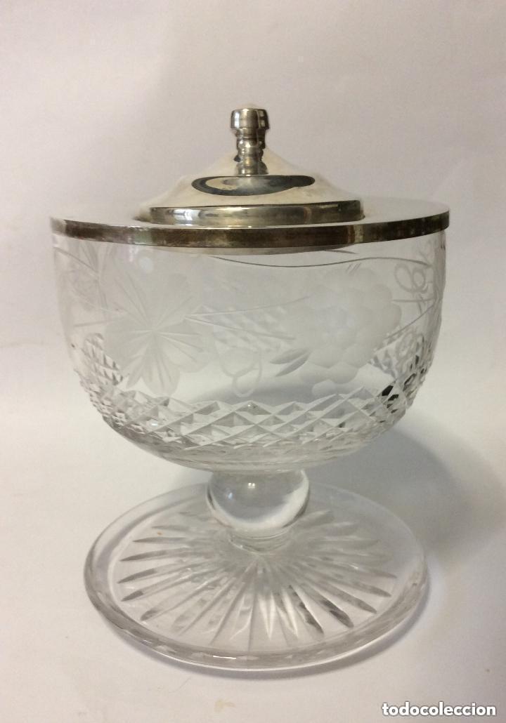 Antigüedades: Cáliz cristal tallado y plata de Ley 925ml, para liturgia religiosa Curiosa copa de cristal tal - Foto 3 - 221967183