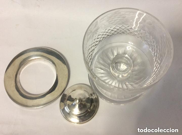 Antigüedades: Cáliz cristal tallado y plata de Ley 925ml, para liturgia religiosa Curiosa copa de cristal tal - Foto 7 - 221967183