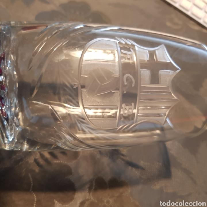 """Antigüedades: Vaso personalizado tallado en cristal de Santa Lucía con el escudo del Barça y el nombre de """"Paco"""" - Foto 4 - 221967912"""