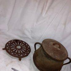 Antiquités: ANTIGUA OLLA NUMERO 6 CON SOPORTE!. Lote 221973935