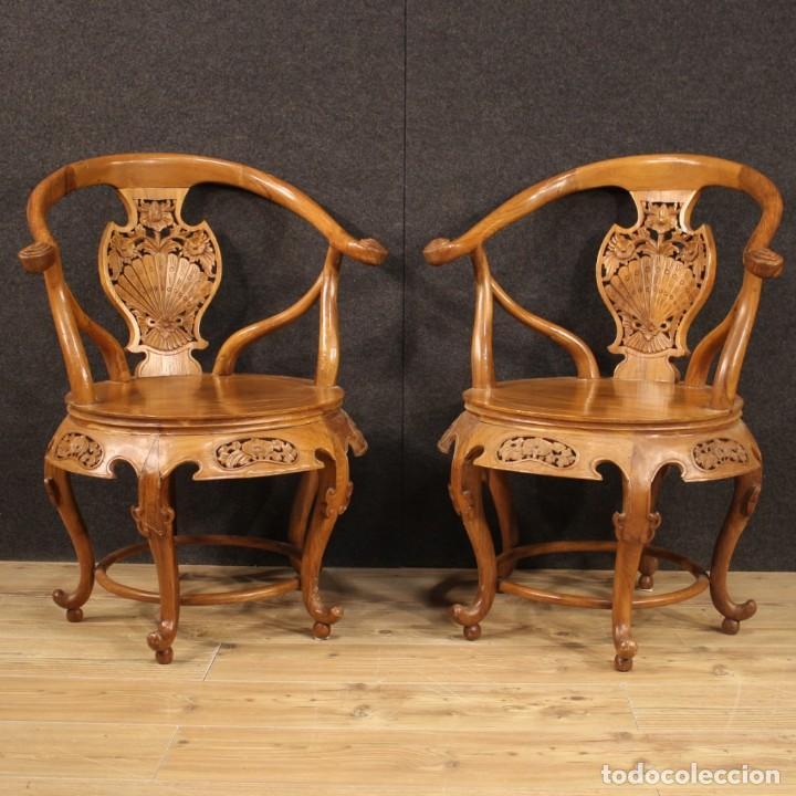 Antigüedades: Par de sillones chinos en madera exótica - Foto 2 - 221994251