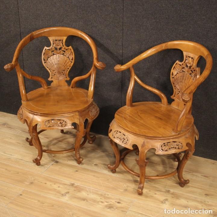 Antigüedades: Par de sillones chinos en madera exótica - Foto 3 - 221994251