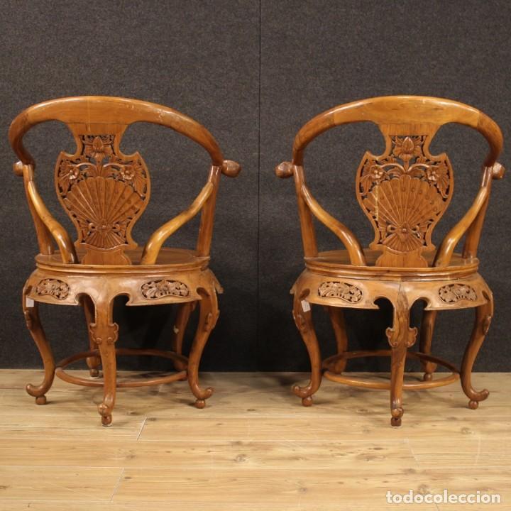 Antigüedades: Par de sillones chinos en madera exótica - Foto 5 - 221994251