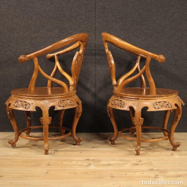 Antigüedades: Par de sillones chinos en madera exótica - Foto 6 - 221994251