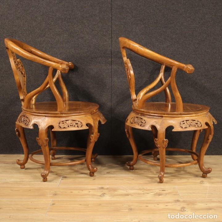 Antigüedades: Par de sillones chinos en madera exótica - Foto 7 - 221994251