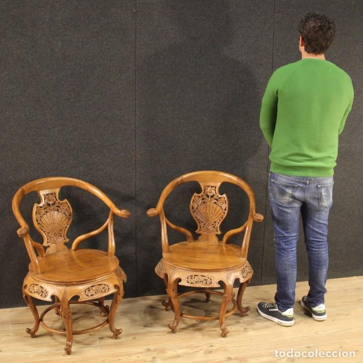 Antigüedades: Par de sillones chinos en madera exótica - Foto 12 - 221994251