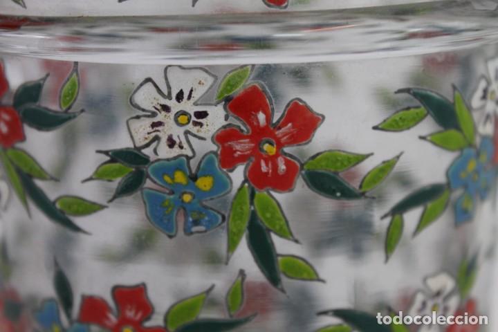 Antigüedades: Cubitera en cristal mallorquín pintado a mano con flores firmado Gordiola. Mediados siglo XX - Foto 3 - 222016388