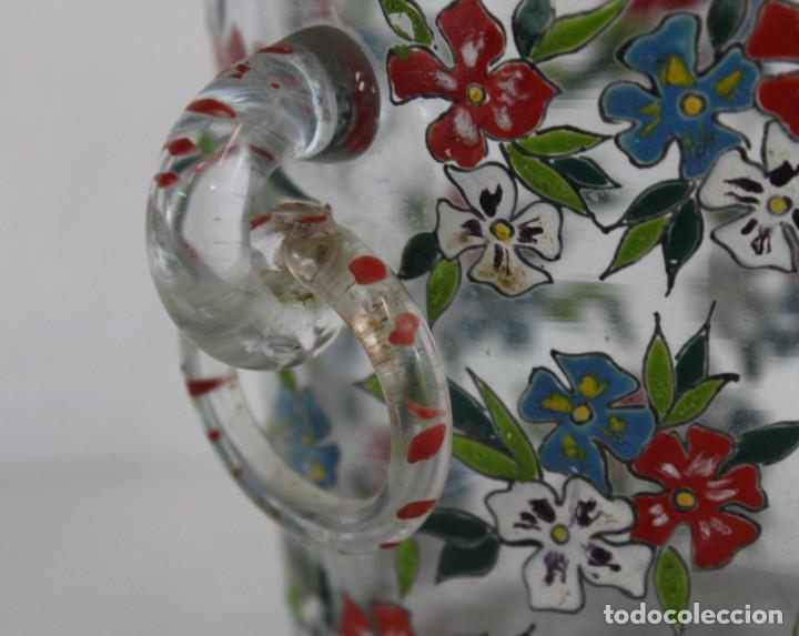 Antigüedades: Cubitera en cristal mallorquín pintado a mano con flores firmado Gordiola. Mediados siglo XX - Foto 5 - 222016388