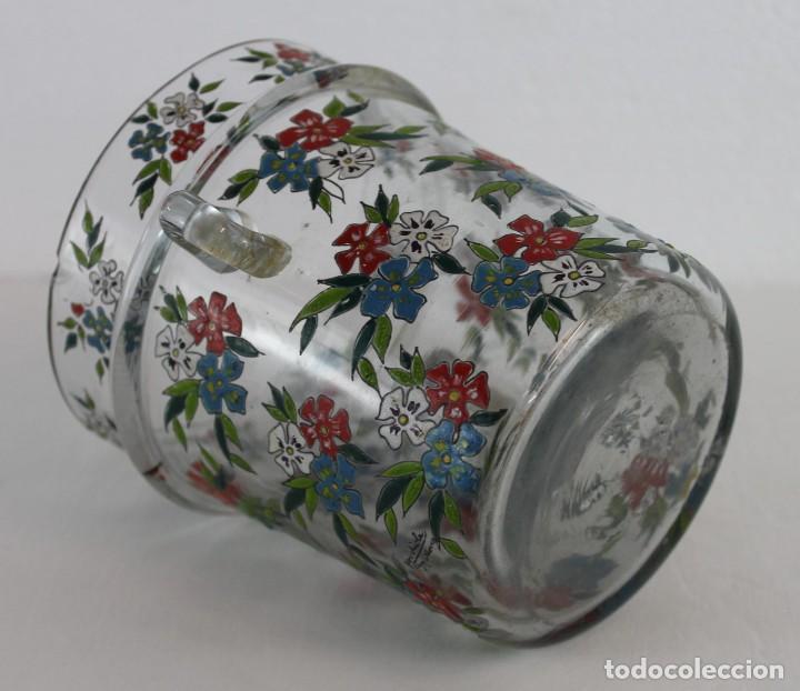 Antigüedades: Cubitera en cristal mallorquín pintado a mano con flores firmado Gordiola. Mediados siglo XX - Foto 9 - 222016388
