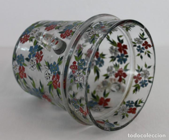 Antigüedades: Cubitera en cristal mallorquín pintado a mano con flores firmado Gordiola. Mediados siglo XX - Foto 10 - 222016388