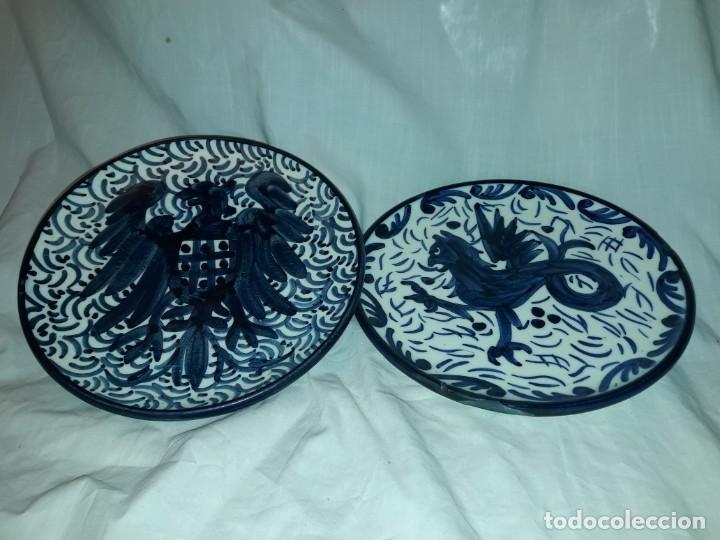 Antigüedades: Magnifica pareja de platos cerámica Pascual Zorrilla bella decoración - Foto 2 - 222038028