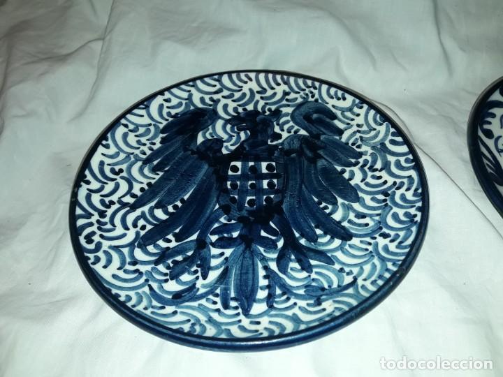 Antigüedades: Magnifica pareja de platos cerámica Pascual Zorrilla bella decoración - Foto 3 - 222038028