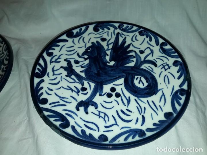Antigüedades: Magnifica pareja de platos cerámica Pascual Zorrilla bella decoración - Foto 4 - 222038028