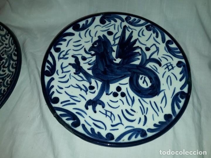 Antigüedades: Magnifica pareja de platos cerámica Pascual Zorrilla bella decoración - Foto 5 - 222038028