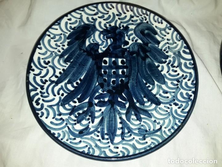 Antigüedades: Magnifica pareja de platos cerámica Pascual Zorrilla bella decoración - Foto 6 - 222038028