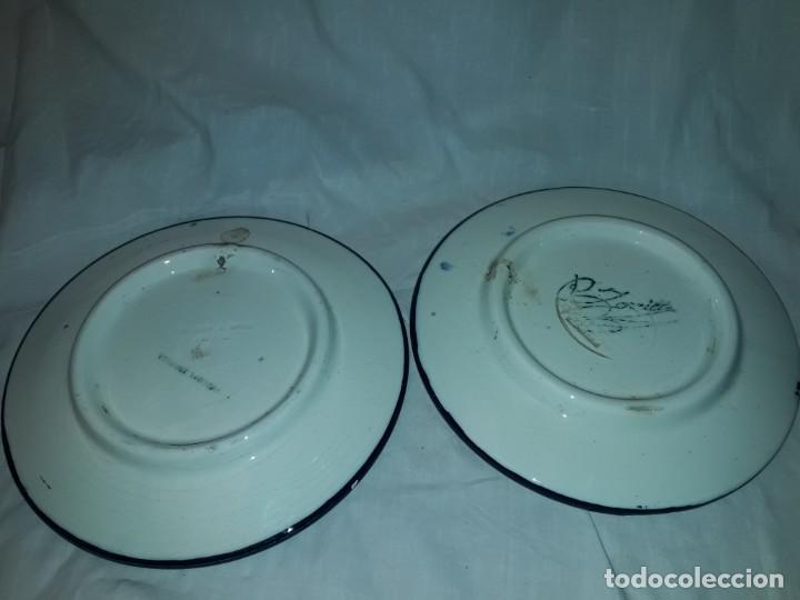 Antigüedades: Magnifica pareja de platos cerámica Pascual Zorrilla bella decoración - Foto 7 - 222038028