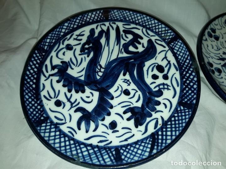 Antigüedades: Magnifica pareja de platos cerámica Pascual Zorrilla bella decoración - Foto 4 - 222038158