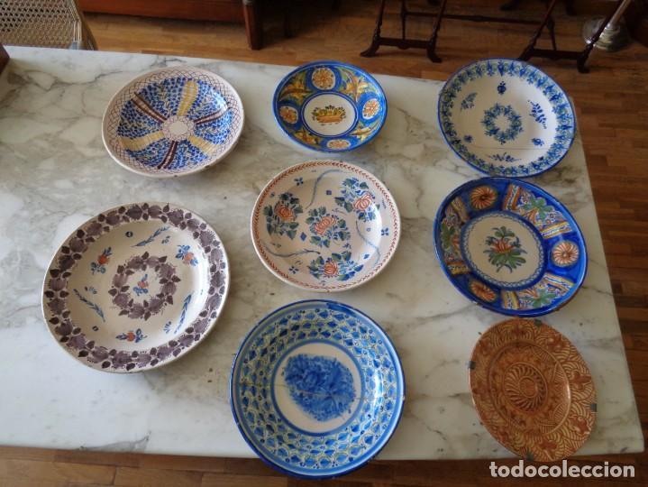 OCHO PLATOS MANISES SIGLO XIX( RECOGER EN TIENDA) (Antigüedades - Porcelanas y Cerámicas - Manises)
