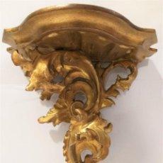 Antigüedades: PEANA MENSULA O REPISA ANTIGUA DE MADERA DE PARED PAN DE ORO. Lote 222055071