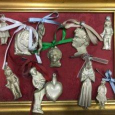 Antigüedades: EXVOTOS RELIGIOSOS ANTIGUOS LOTE DE DIEZ ENMARCADOS. Lote 222071386