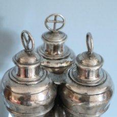 Antigüedades: SANTOS ÓLEOS ELABORADOS EN PLATA. SIGLO XVIII.. Lote 222081780