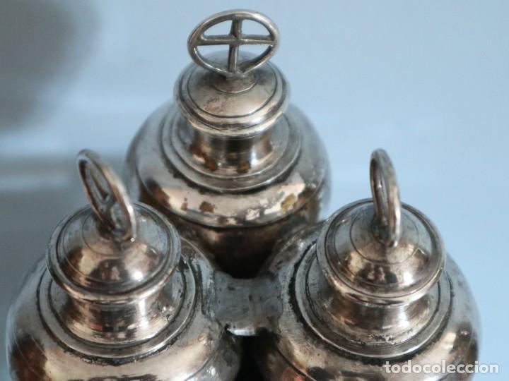 Antigüedades: Santos óleos elaborados en plata. Siglo XVIII. - Foto 3 - 222081780