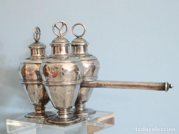 Antigüedades: Santos óleos elaborados en plata. Siglo XVIII. - Foto 8 - 222081780