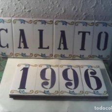 Antigüedades: BALDOSAS AZULEJOS CON NOMBRE Y AÑO. Lote 222084721
