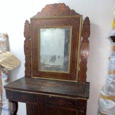 Antigüedades: CONSOLA VALENCIANA CON MARQUETERÍA Y POLICROMIA SIGLO XVIII. Lote 222097783